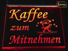 """LED Leuchtschild Werbeschild Reklame """"Kaffee zum Mitnehmen / Coffee to go"""" rot"""