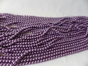 JOB LOT of 7 strings x Glass Pearl 8mm Round Beads: #30A MID MAUVE 700 beads
