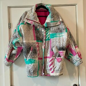 Retro 80s ski jacket vintage pink & aqua design size 38 apres ski fancy dress