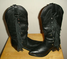 NEW Women's Sexy Harley Davidson Blk Leather Fringe / Silver Studs Boots Size 6M