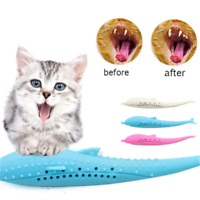 Cat Mint Molar Fish Shape Toothbrush Chew Toys Pet Silicone Teeth Cleaning Stick