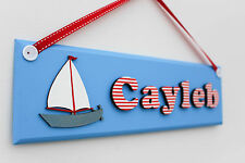 Boys wooden nautical door sign / name plaque with sailing boat