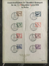 1936 Germany Olympics Set Special Commemorative Sheet with Pre Event cancels