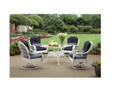 "5Pc Wicker Patio Dining Set 42"" Table + 4 Swivel Chairs Outdoor Furniture Lawn"