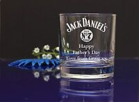 Personalised Jack Daniels HAPPY Fathers day engraved Whiskey glass gift 247