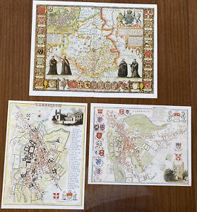 3 x Old Antique Vintage Historic maps Cambridge, England 1600's & 1800's Reprint