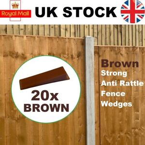 20 BROWN FENCE PANEL WEDGES CLIPS SECURITY GRIPS, STOPS RATTLING FENCES FAST