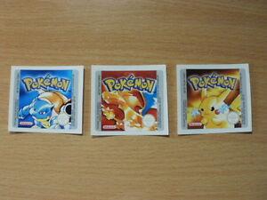 Gameboy Pokemon BlueYellowRed Replacement Label Decal Sticker Nintendo Cartridge