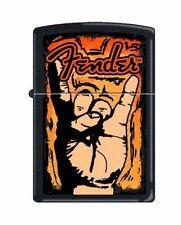 Zippo 4639 Fender Guitar Rock On Black Matte Finish Lighter