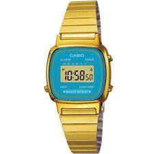 Casio Uhr LA670WGA-2DF Digital Damen Armbanduhr Gold Blau Watch Blue NEU & OVP