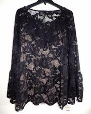 INC Women's Plus Size Black Lace Bell Sleeve Top NWT Size 3X MSRP $79 WT3971