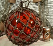 Vintage Glass Fishing Float In Red
