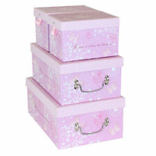 JVL Heart and Butterfly Design Storage Boxes Pink Set of 4