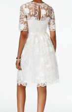BHLDN Adrianna Papell Embroidered Floral Gorgeous Ivory Dress size 4 6