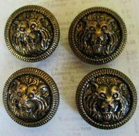 Set of 4 Lion Head Metal Buttons 3 Dimensional Detailed Antiqued Brass Tone .88""