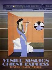 Rotaia di viaggio Treno Orient Express VENEZIA Londra Parigi Galleria Poster retrò 2482py