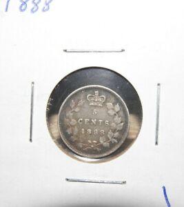 1888  VERY FINE   VICTORIA  5 CENT SILVER   PLEASE SEE PICS #1