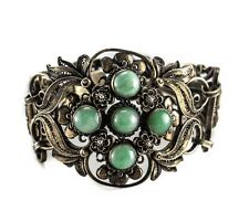 Chinese Gilt Sterling Silver Filigree Jade Jadeite Bracelet. Hand crafted c1920