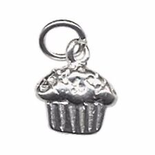 Sterling Silver Cupcake Charm, Double-Sided with Open Jump Ring (S138)