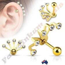 316L Surgical Steel 5 Crystal Set Fan Hanging Gold Tragus/Cartilage Stud