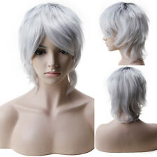 Mans Wig Short Cosplay Full Wig Curly Straight Synthetic Hair Halloween Costume