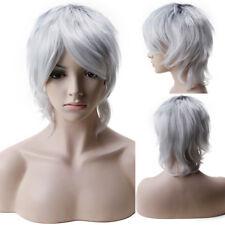 Cosplay Short Wig Unisex Man Boy Fancy Costume Synthetic Hair White Orange Pink
