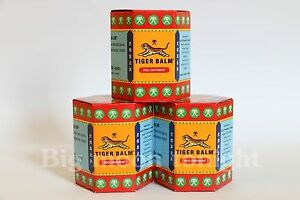 3 x 30 G TIGER BALM HERBAL RED OINTMENT MASSAGE RELIEF MUSCLE PAIN FREE SHIPPING