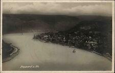 Boppard am Rhein s/w Postkarte 1928 gelaufen Gesamtansicht mit Flußpartie Schiff