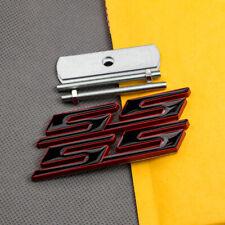 Red & Black Metal SS Grille Emblem + Rear Trunk Sport Badge Sticker for Camaro