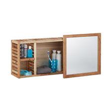 Wandregal mit Spiegel (verschiebbar), robuster Badschrank aus Walnuss, Holzregal
