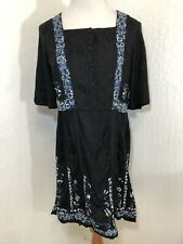 French Connection Dress Size 4 Small Black Embroidered Ribbon Peasant Boho