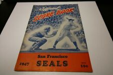 1947 OFFICIAL SAN FRANCISCO SEALS SCOREBOOK AND PROGRAM VS NEW YORK GIANTS