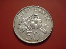 Singapore 50 Cents, 1991 Yellow Allamanda plant