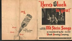 Here's Gluck To You Gluck Brewing Co Lyrics for Old Stein Songs Sheet Music
