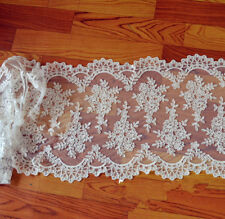 Stunning Ivory Embroidery Bridal Dress Fabric Corded Gown DIY Lace Fabric 1 Y