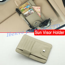 Beige Leather Car Sun Visor Handy Pen Holder Card Wallet Glasses Catcher Storage