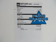 Yamaha Quick Reference Service Manual Data Spec Sheet SRT1000 AR SR SX230 2003
