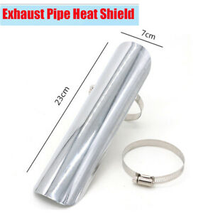 """9"""" Silver Metal Motorcycle Exhaust Pipe Heat Shield Cover Guard with 2x Clamps"""