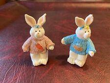 2 Vintage Ganz Easter Bunnies in Sweaters Polyresin 5 Inch Figurines # EA 0972