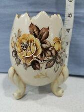 Vintage Ceramic Porcelain Open Cracked Egg Vase Brown and White Floral Figurine