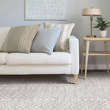 Large Floor Rug Beige Grey Geometric Chevron Mat Neutral Modern Carpet 200x290cm