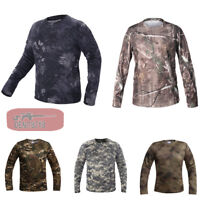 Mens Combat T-Shirt Casual Tactical Long Sleeve Quick Drying Army Outdoor Hiking
