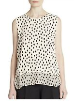 Kate Spade Women's Leopard Dot Print Sleeveless Layered Blouse Silk Size M