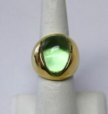 Kenneth Jay Lane Peridot Green Cabochon Nugget Gold Adjustable Ring 5-9
