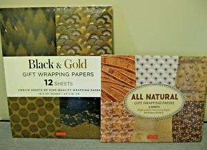 TUTTLE GIFT WRAPPING PAPERS ~ BLACK & GOLD AND ALL NATURAL ~ LOT OF 2 ~ NEW!!
