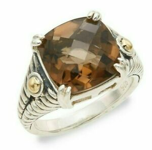 Effy 925 Sterling Silver & 18K Yellow Gold Cushion Cut Smokey Quartz Ring Size 7