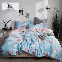 Luxury Flowers 100% Silk Bedding Set Silky Duvet Cover Skin Flat Sheet Bed Linen