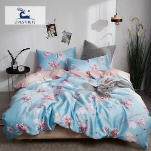 Luxury Flowers 100% Silk Bedding Set Silky Duvet Cover Skin Flat Sheet Bed Linen