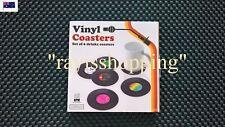 6 x Hard Plastic Record Coasters Retro Vinyl Bar Drinks Cool Vintage Gift