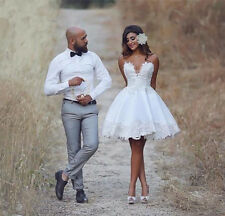 Sleeveless Lace Sweetheart Wedding Dresses Short Mini Beach Bridal Gowns 4 6 8 +